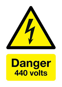 Danger 440 Volts   150x125mm 1.2mm Rigid Plastic Safety Sign