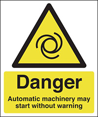 Danger Automatic Machinery May Start Without Warning 297x210mm 1.2mm Rigid Plastic Safety Sign