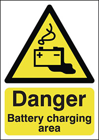 Thumbnail Danger Battery Charging Area 420x297mm Self Adhesive Vinyl Safety Sign