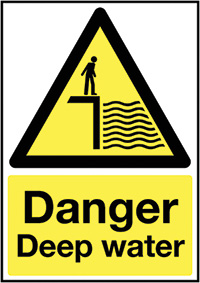 Thumbnail Danger Deep Water 297x210mm 1.2mm Rigid Plastic Safety Sign