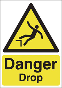 Thumbnail Danger Drop 420x297mm 1.2mm Rigid Plastic Safety Sign
