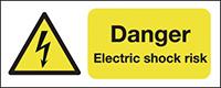 Danger Electric Shock Risk   100x250mm 1.2mm Rigid Plastic Safety Sign