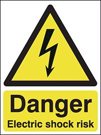Danger Electric Shock Risk  400x300mm 2mm Polycarbonate Safety Sign