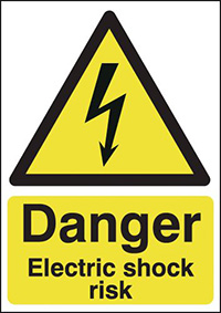Danger Electric Shock Risk  210x148mm Self Adhesive Vinyl Safety Sign