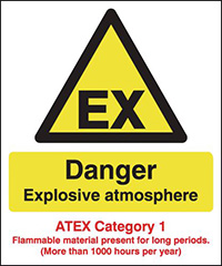 Danger Explosive Atmosphere  ATEX Category 1  297x210mm 1.2mm Rigid Plastic Safety Sign
