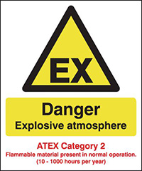 Thumbnail Danger Explosive Atmosphere  ATEX Category 2  297x210mm Self Adhesive Vinyl Safety Sign