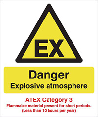 Danger Explosive Atmosphere  ATEX Category 3  297x210mm 1.2mm Rigid Plastic Safety Sign