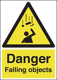 Thumbnail Danger Falling Objects 297x210mm 1.2mm Rigid Plastic Safety Sign