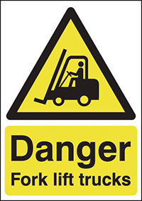 Danger Forklift Trucks 210x148mm 1.2mm Rigid Plastic Safety Sign