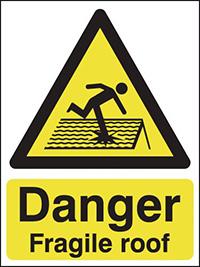 Danger Fragile Roof  600x450mm 0.9mm Aluminium Safety Sign