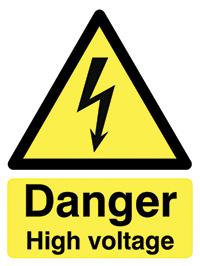 Danger High Voltage  400x300mm 2mm Polycarbonate Safety Sign