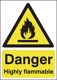 Thumbnail Danger Highly Flammable 420x297mm Self Adhesive Vinyl Safety Sign