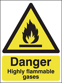 Danger Highly Flammable Gases 210x148mm 1.2mm Rigid Plastic Safety Sign