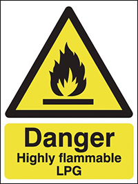 Thumbnail Danger Highly Flammable LPG 420x297mm 1.2mm Rigid Plastic Safety Sign