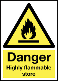 Danger Highly Flammable Store 210x148mm 1.2mm Rigid Plastic Safety Sign