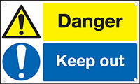 Danger Keep Out 300x500mm 1.2mm Rigid Plastic Safety Sign