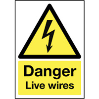 Danger Live Wires   210x148mm 1.2mm Rigid Plastic Safety Sign