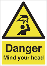 Danger Mind Your Head 210x148mm 1.2mm Rigid Plastic Safety Sign