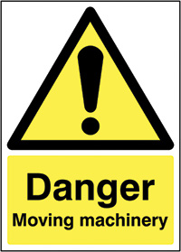 Thumbnail Danger Moving machinery 210x148mm 1.2mm Rigid Plastic Safety Sign