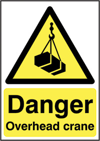 Thumbnail Danger Overhead Crane  420x297mm Self Adhesive Vinyl Safety Sign
