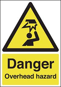 Danger Overhead Hazard 210x148mm 1.2mm Rigid Plastic Safety Sign