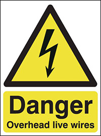 Danger Overhead Live Wires   210x148mm 1.2mm Rigid Plastic Safety Sign