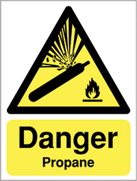 Danger Propane 210x148mm 1.2mm Rigid Plastic Safety Sign
