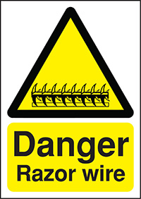 Danger Razor Wire 210x148mm Self Adhesive Vinyl Safety Sign