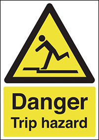 Thumbnail Danger Trip Hazard 210x148mm 1.2mm Rigid Plastic Safety Sign