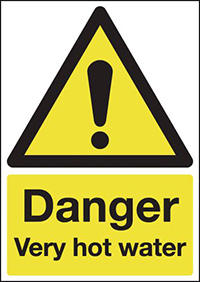 Danger Very Hot Water 70x50mm 1.2mm Rigid Plastic Safety Sign