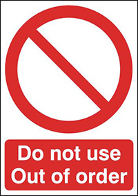 Do Not Use Out of Order 210x148mm 1.2mm Rigid Plastic Safety Sign