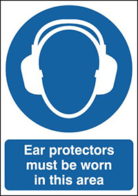Ear Protectors Must Be Worn In This Area Must Be Worn 210x148mm 1.2mm Rigid Plastic Safety Sign