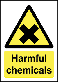 Harmful Chemicals 210x148mm 1.2mm Rigid Plastic Safety Sign