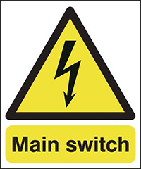 Main Switch   100x250mm 1.2mm Rigid Plastic Safety Sign