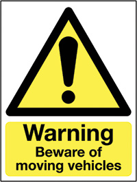Warning Beware of Moving Vehicles   400x300mm 0.9mm Aluminium Safety Sign
