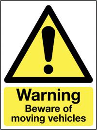 Warning Beware of moving vehicles  400x300mm 3mm Aluminium Safety Sign