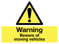 450x600mm Warning Beware of moving vehicles stanchion sign