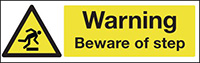 Warning Beware of Step 100x250mm 1.2mm Rigid Plastic Safety Sign