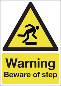 Warning Beware of Step 210x148mm 1.2mm Rigid Plastic Safety Sign