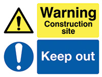450x600mm Warning Construction site Keep out stanchion sign