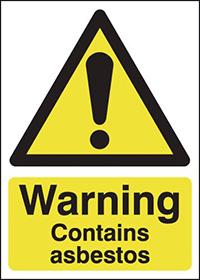 Warning Contains Asbestos 70x50mm 1.2mm Rigid Plastic Safety Sign