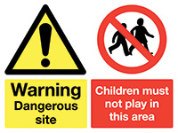 Thumbnail 450x600mm Warning Dangerous site Children must not play stanchion sign
