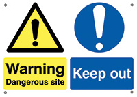 Warning Dangerous Site Keep Out  594x420mm 0.9mm Aluminium Safety Sign