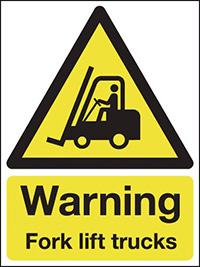 Warning Fork lift trucks  400x300mm 3mm Aluminium Safety Sign