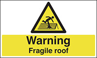 Thumbnail Warning Fragile Roof  300x500mm Self Adhesive Vinyl Safety Sign