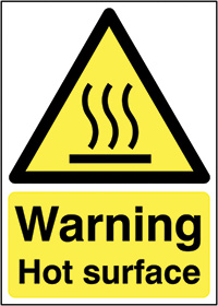 Thumbnail Warning Hot Surface 210x148mm 1.2mm Rigid Plastic Safety Sign