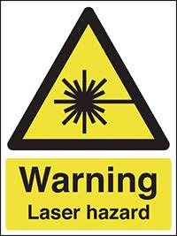 Warning Laser Hazard 210x148mm 1.2mm Rigid Plastic Safety Sign