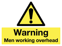 450x600mm Warning Men working overhead stanchion sign
