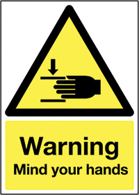 Warning Mind Your Hands 210x148mm Self Adhesive Vinyl Safety Sign