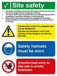 400x300mm Site Safety Legal Text Site Safety Board